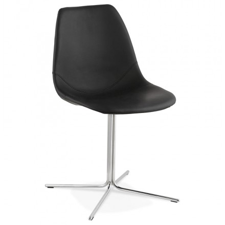 Design chair OFEN in polyurethane and chrome metal (black, chrome)