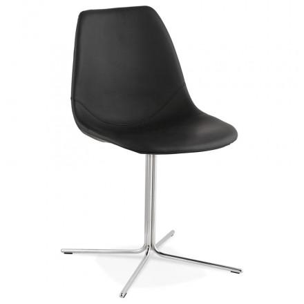 Chaise design OFEN en polyuréthane et métal chromé (noir, chrome)