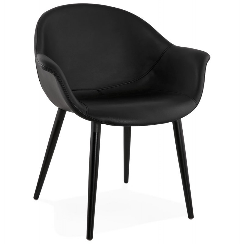 Fauteuil chaise design et moderne orly noir for Chaise de design