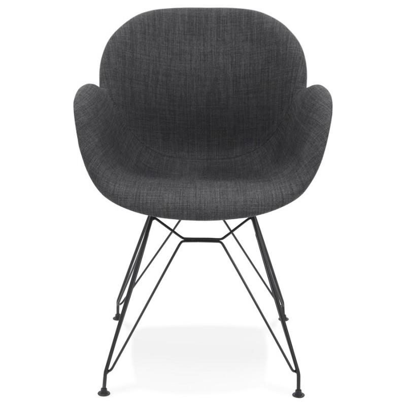 Chaise design style industriel TOM en tissu pied métal noir (gris foncé) - image 29160