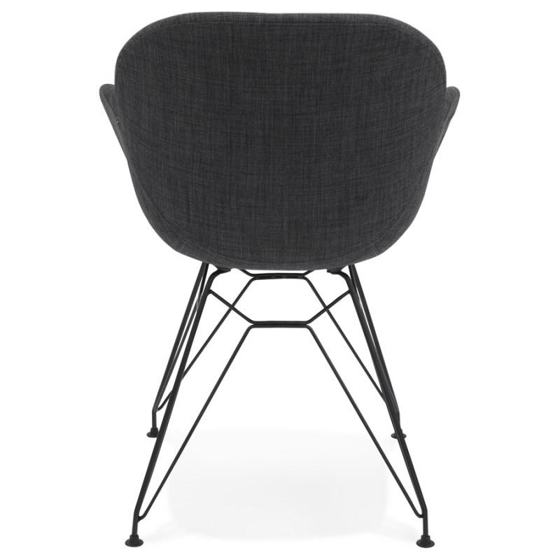 Chaise design style industriel TOM en tissu pied métal noir (gris foncé) - image 29162