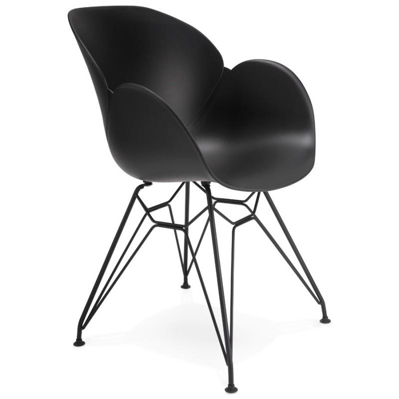 Chaise design style industriel TOM en polypropylène pied métal noir (noir) - image 29172