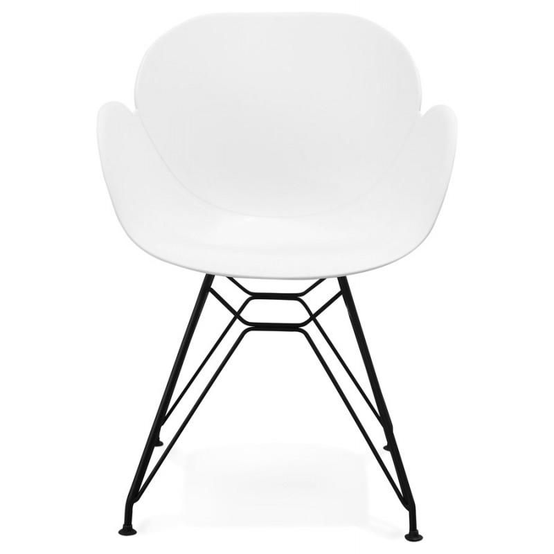 Chaise design style industriel TOM en polypropylène pied métal noir (blanc) - image 29186