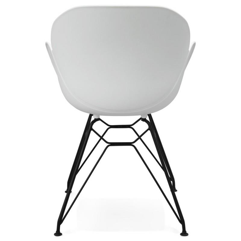 Chaise design style industriel TOM en polypropylène pied métal noir (blanc) - image 29188