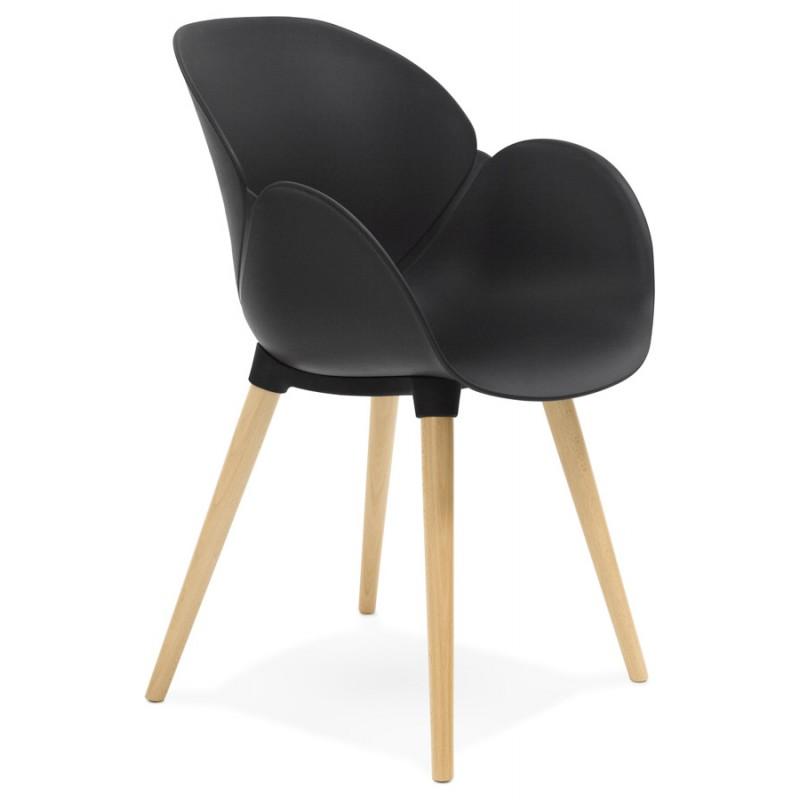 Chaise design style scandinave LENA en polypropylène (noir)