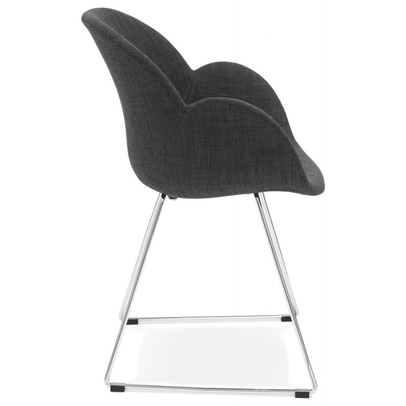 chaise design pied effil adele en tissu gris fonc. Black Bedroom Furniture Sets. Home Design Ideas