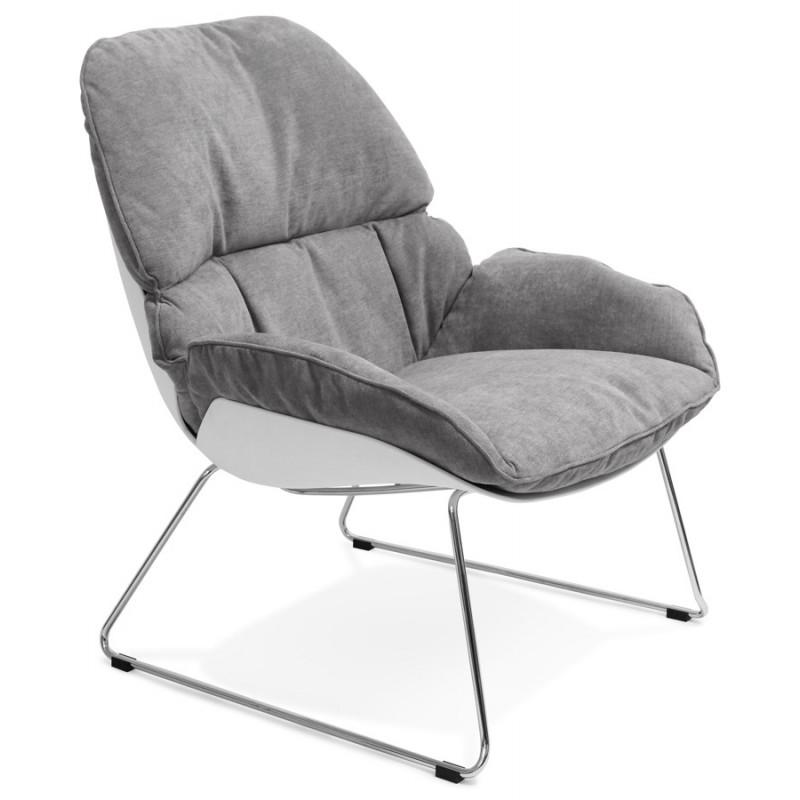 Fauteuil lounge design LILOU en tissu (gris clair) - image 29318