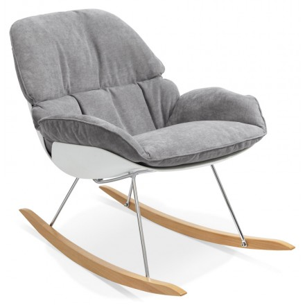 Lounge chair rocking JADE in fabric (light gray)