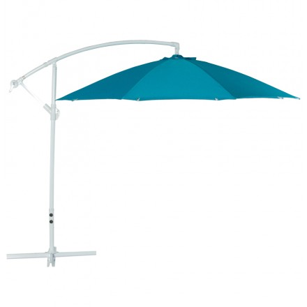 Octagonal deported parasol ALICE in polyester and aluminum (blue)