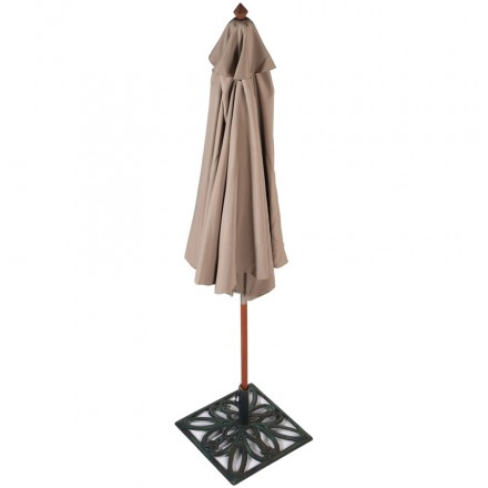 Parasol hexagonal MILOU in polyester and Indonesian wood (mole)