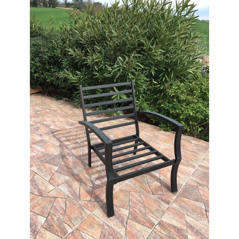 Lot de 4 chaises de jardin CROZET aspect fer forgé (noir) - image 29420