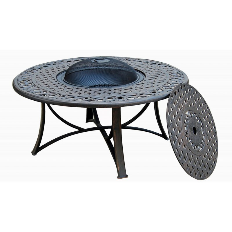 table de jardin basse ronde moorea aspect fer forg noir. Black Bedroom Furniture Sets. Home Design Ideas