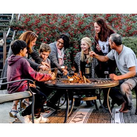 Tavolo basso da giardino + 4 sedie giardino ELBE aspetto (nero) in ferro battuto
