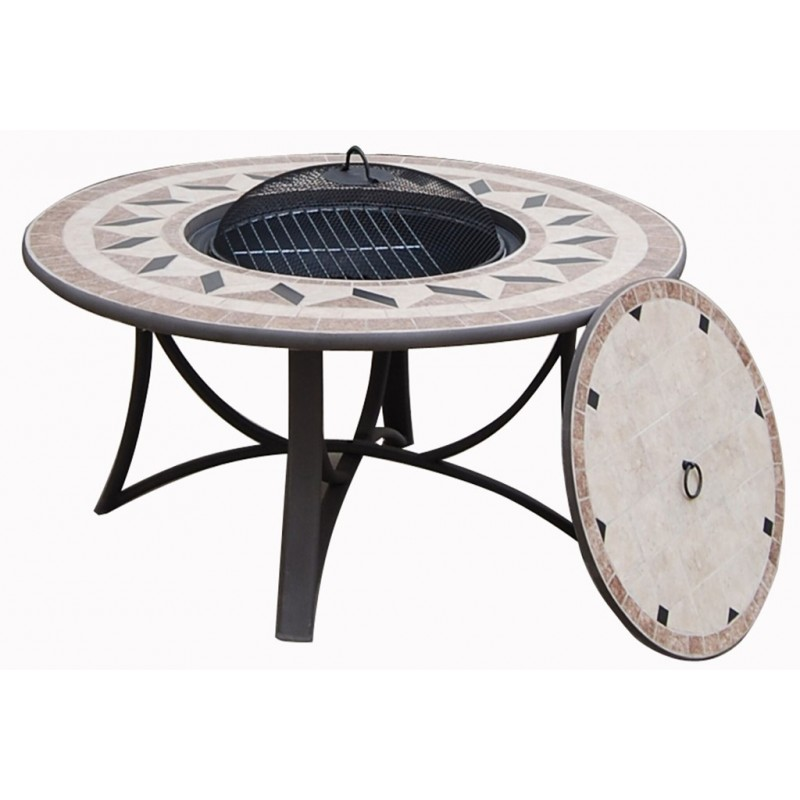 Salon de jardin table basse ronde + 4 chaises FILAE aspect fer forgé ...