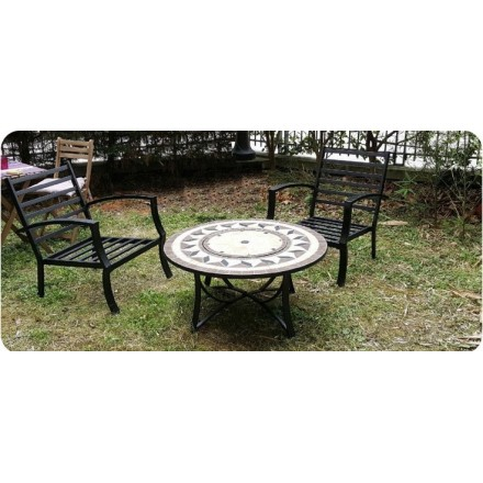 salon de jardin table basse ronde 4 chaises filae aspect fer forg et mosa que noir beige. Black Bedroom Furniture Sets. Home Design Ideas