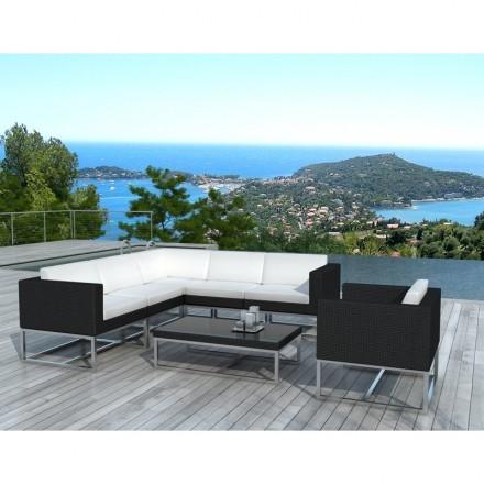 Garden furniture 6 seater GUATEMALA woven resin (black, white)