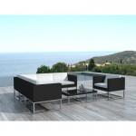 Salon de jardin 6 places GUATEMALA en résine tressée (noir, blanc)