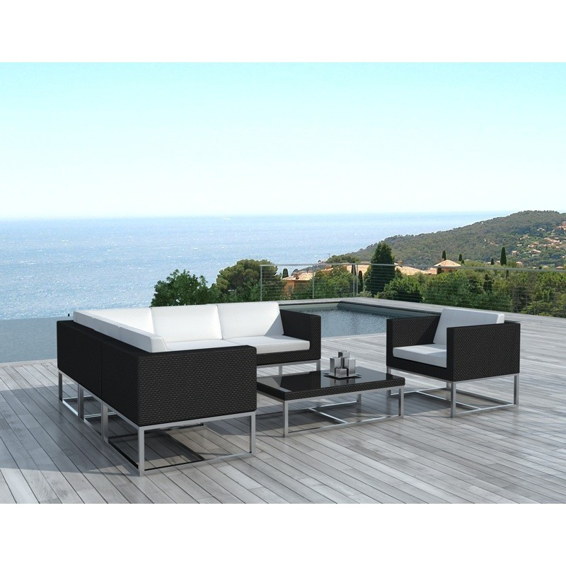 Garden Furniture 6 Seater Guatemala Woven Resin Black White