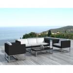 Muebles de jardín 5 lugares resina MAYA tejido (negro, blanco)