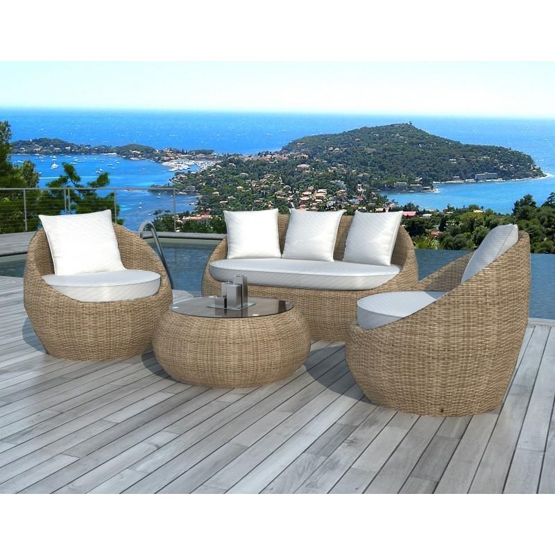 Salon de jardin 5 places DIEGO en résine tressée ronde (rotin, beige) - image 29798