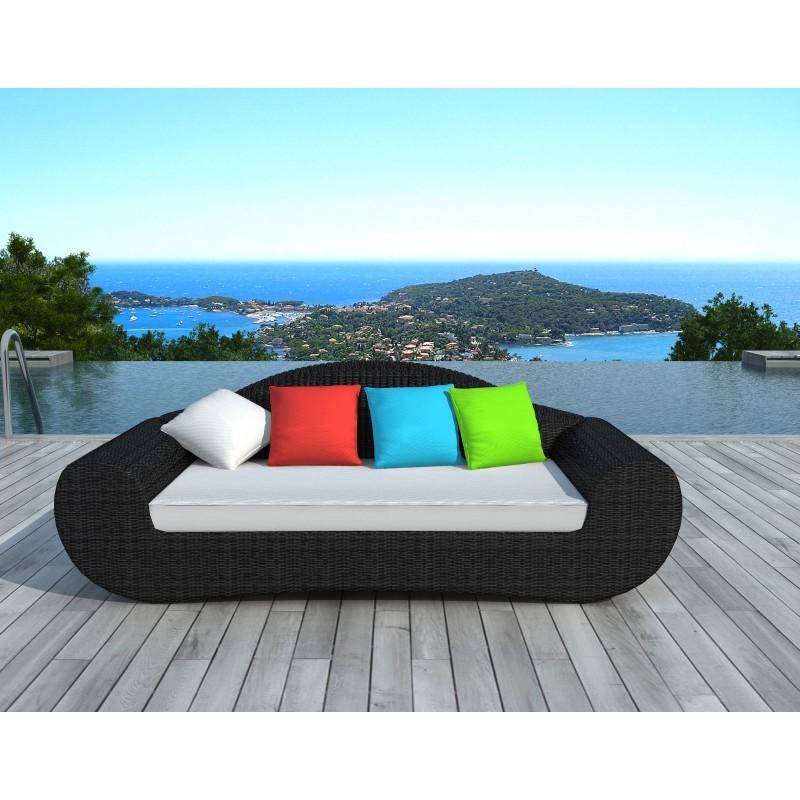 Canapé de jardin 4 places DIANA en résine tressée ronde (noir, coussins de couleurs) - image 29804