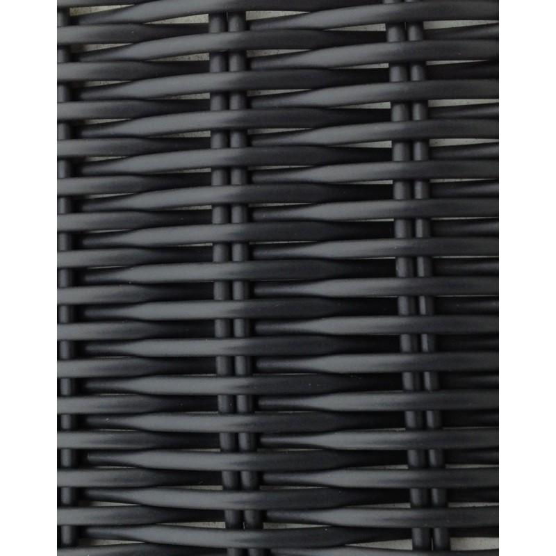 Canapé de jardin 4 places DIANA en résine tressée ronde (noir, coussins blanc/écru) - image 29808