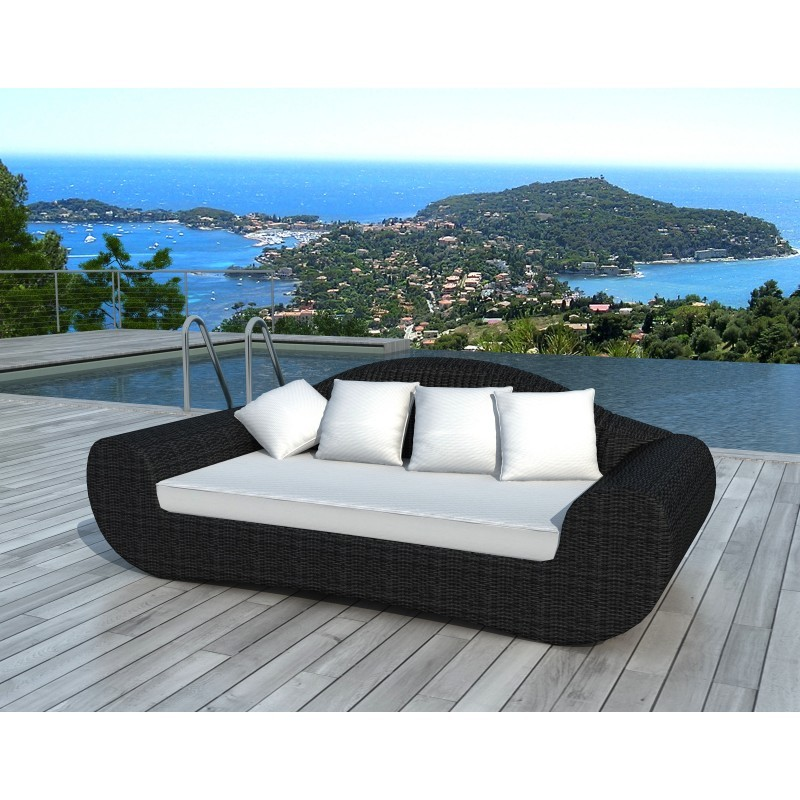 canap de jardin 4 places diana en r sine tress e ronde noir coussins blanc cru. Black Bedroom Furniture Sets. Home Design Ideas