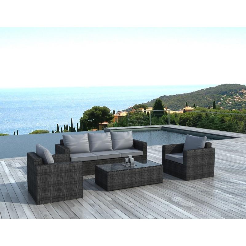 Salon de jardin 5 places TOLEDE en résine tressée ronde (gris)