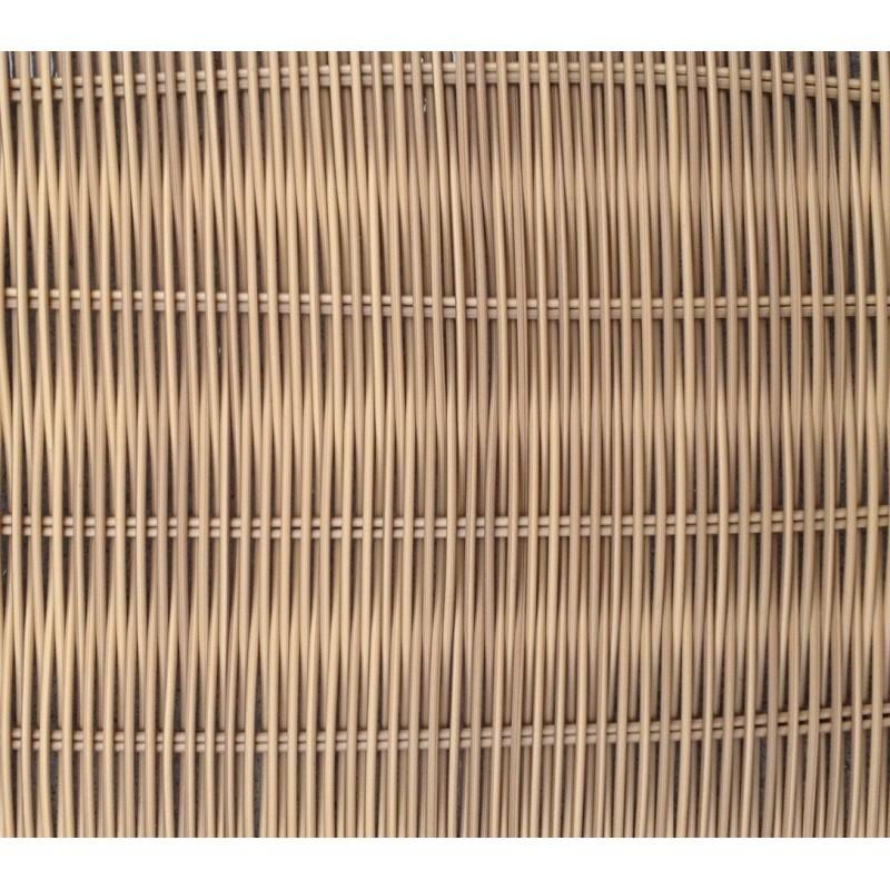 Salon de jardin 4 places BILBAO en résine tressée ronde (beige, coussins gris clair) - image 29820