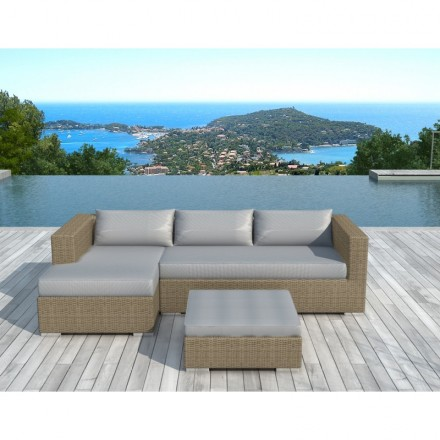 Garden furniture 4 seater BILBAO round braided resin (beige, light gray  pillows)