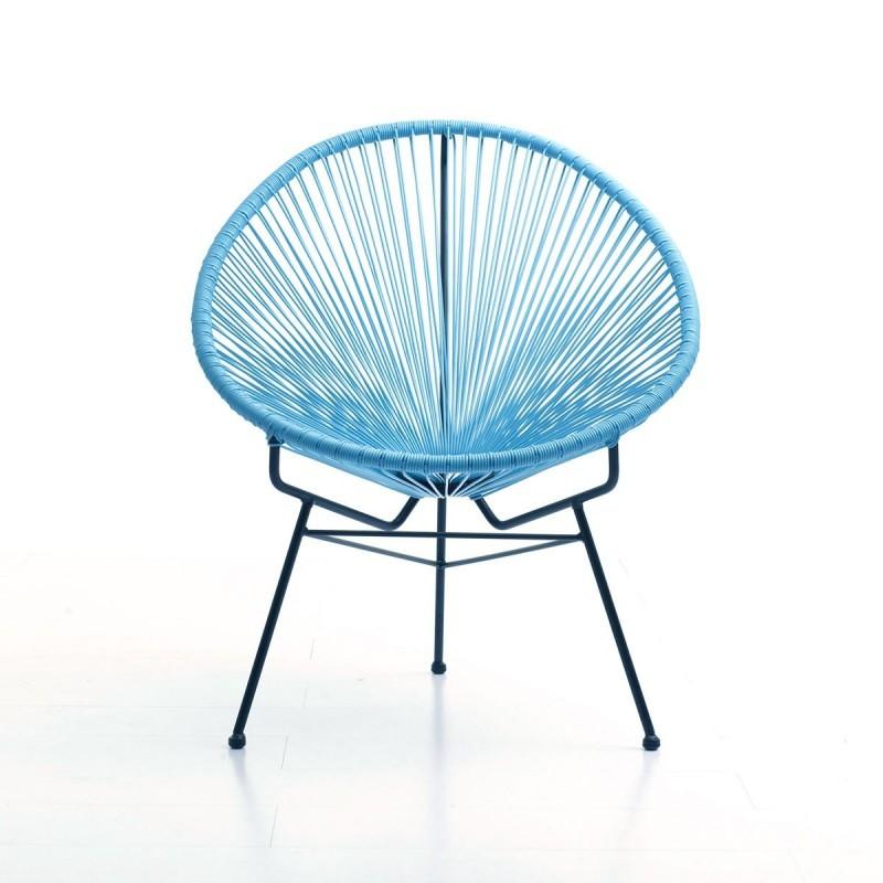 Fauteuil de jardin MAJORQUE en résine tressée ronde (bleu) - image 29828