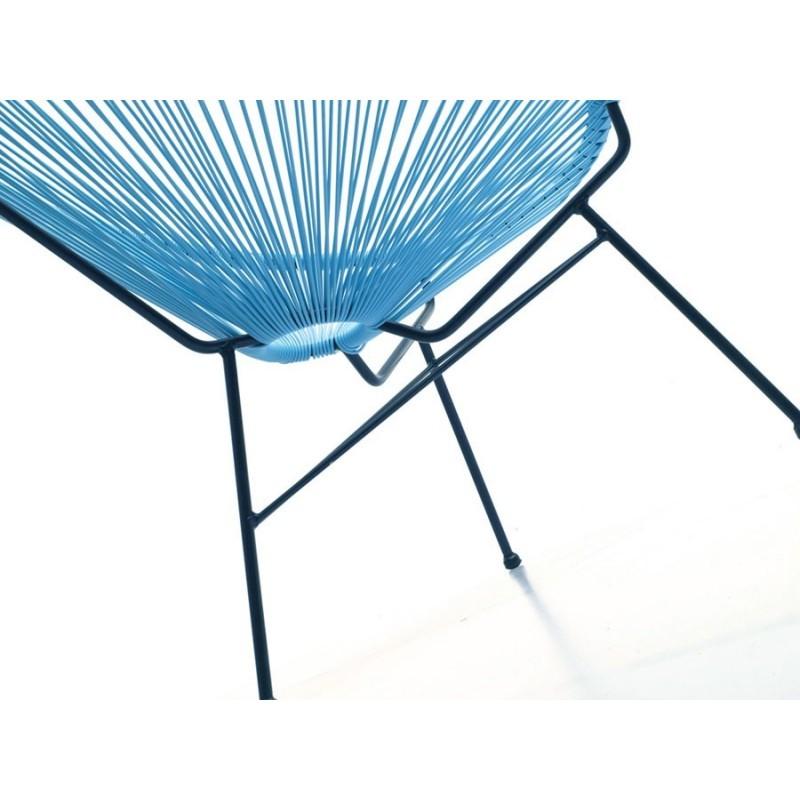Lehrstuhl für Garten Mallorca rund geflochtene Harz (blau) - Liegestuhl