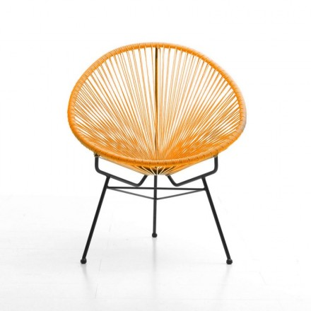 Chair of garden Mallorca round braided resin (orange)