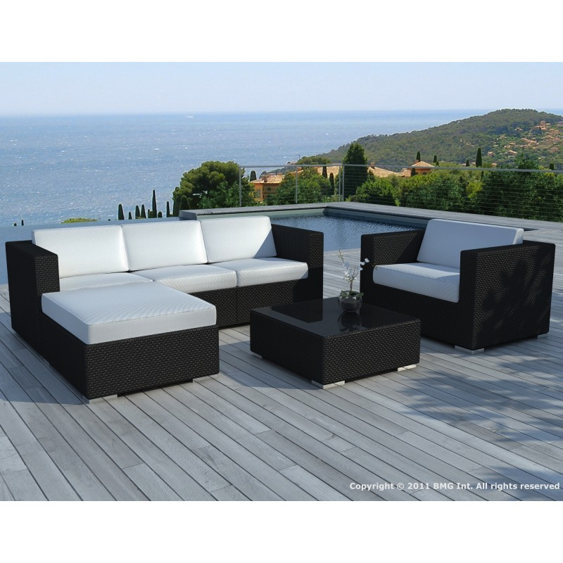 salon de jardin 5 places seville en r sine tress e noir coussins orange. Black Bedroom Furniture Sets. Home Design Ideas