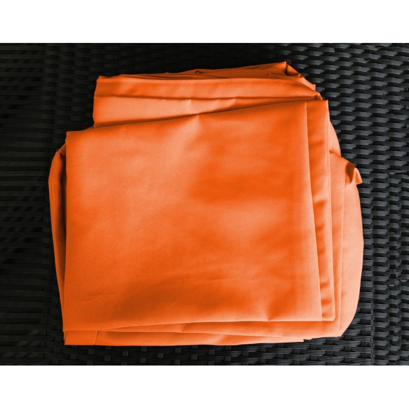 Salon de jardin 5 places SEVILLE en résine tressée (noir, coussins orange) - image 29846
