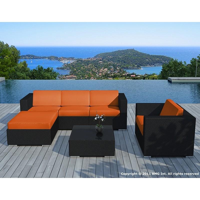 Salon de jardin 5 places SEVILLE en résine tressée (noir, coussins orange) - image 29847