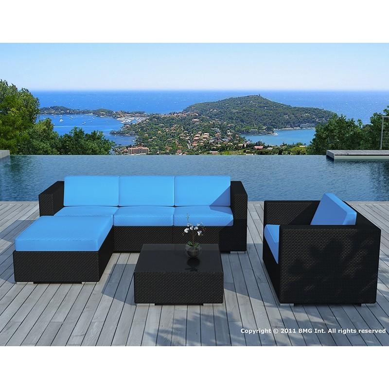 Salon de jardin 5 places SEVILLE en résine tressée (noir, coussins bleu) - image 29851
