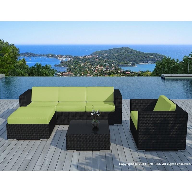Salon de jardin 5 places SEVILLE en résine tressée (noir, coussins vert)