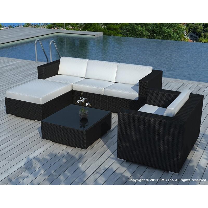 Salon de jardin 5 places SEVILLE en résine tressée (noir, coussins vert) - image 29854