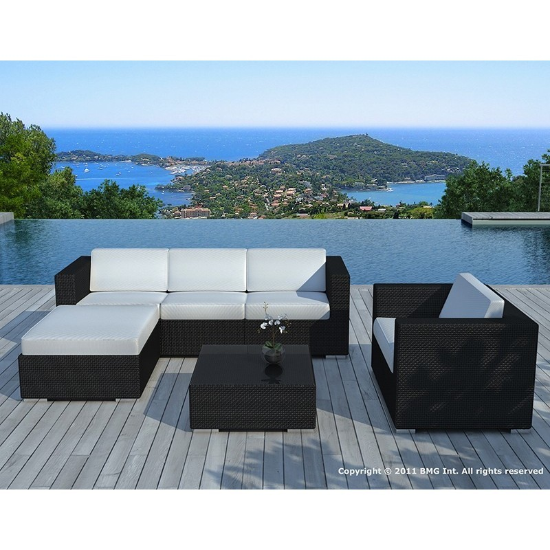 Salon de jardin 5 places SEVILLE en résine tressée (noir, coussins blanc/écru) - image 29860