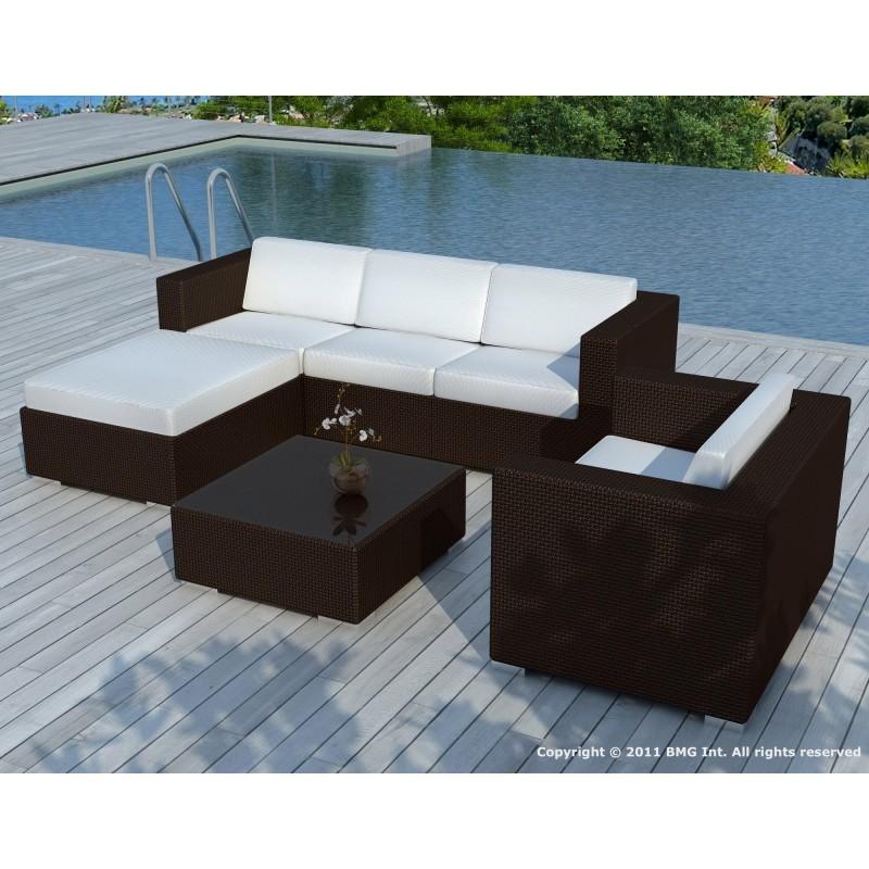Gartenmöbel 5 Quadrate Sevilla Harz geflochten (braun, grünen Kissen) -  Gartenmöbel