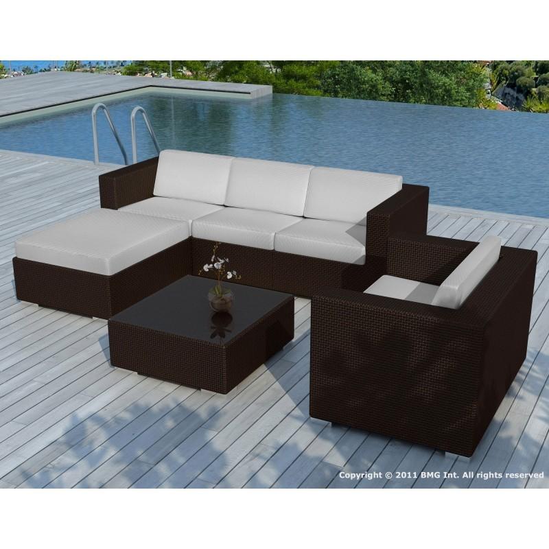 Salon de jardin 5 places SEVILLE en résine tressée (marron, coussins gris) - image 29874