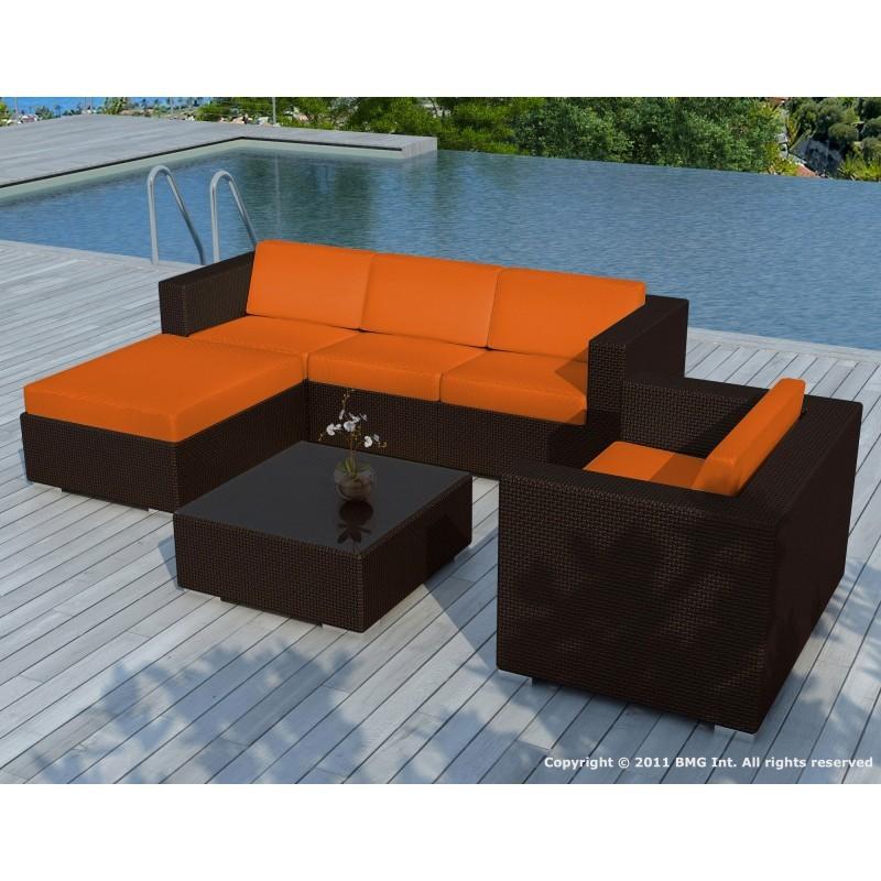 Salon de jardin 5 places SEVILLE en résine tressée (marron, coussins orange) - image 29879