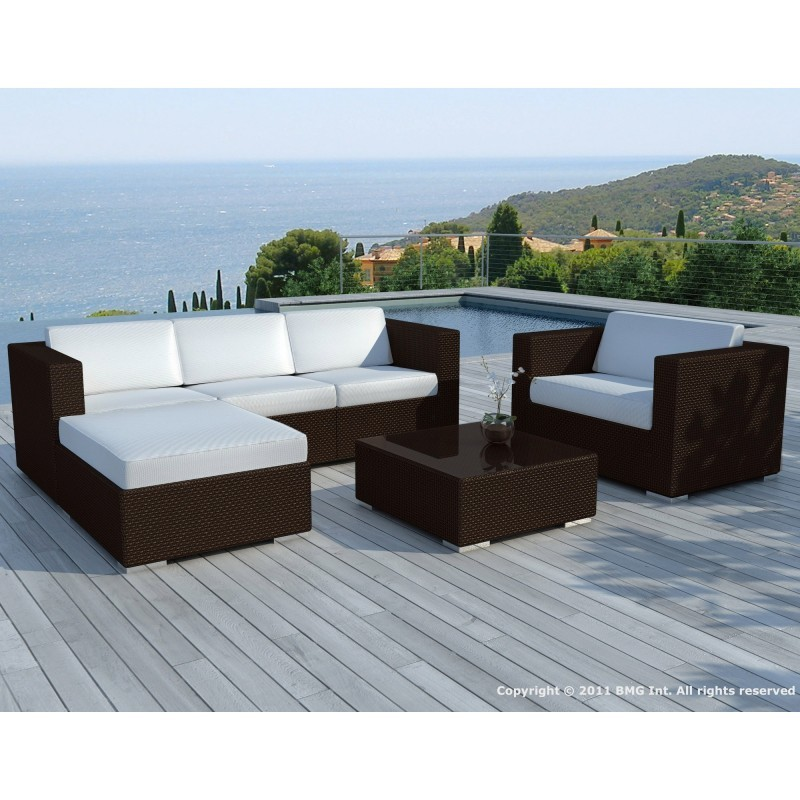 salon de jardin 5 places seville en r sine tress e marron coussins blanc cru. Black Bedroom Furniture Sets. Home Design Ideas