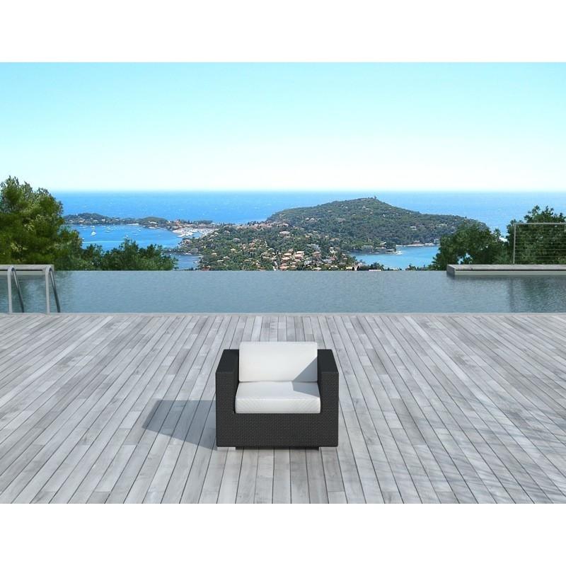 Fauteuil de jardin SALOU en résine tressée (noir, coussins blanc/écru) - image 29884