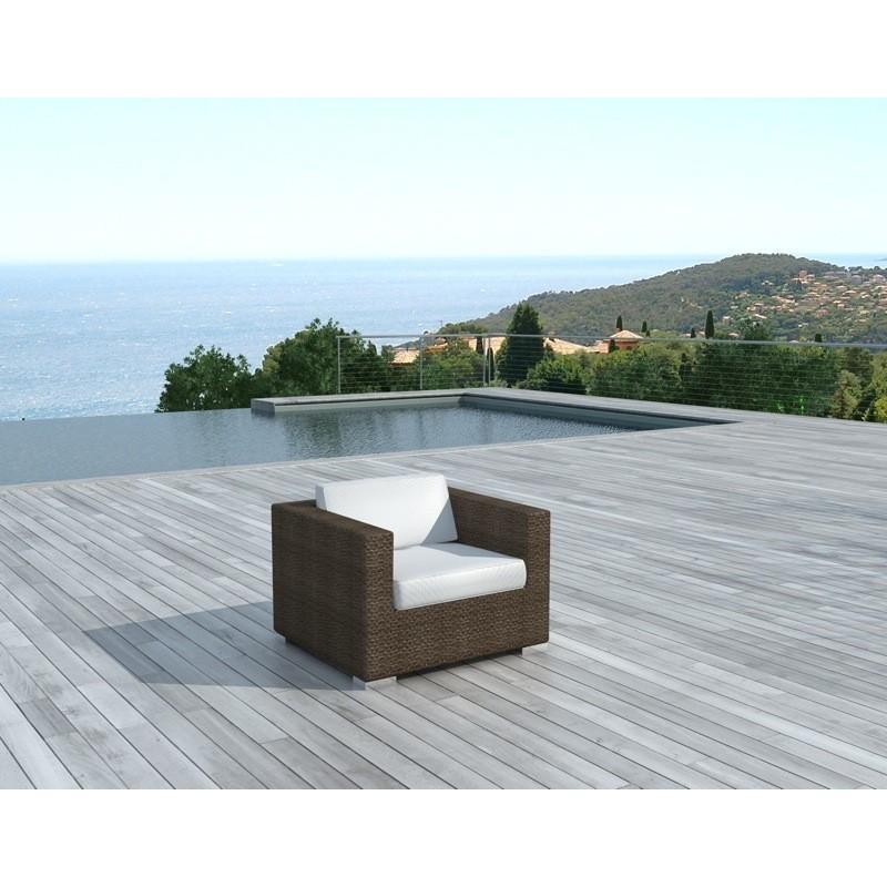 Fauteuil de jardin SALOU en résine tressée (marron, coussins blanc/écru) - image 29889