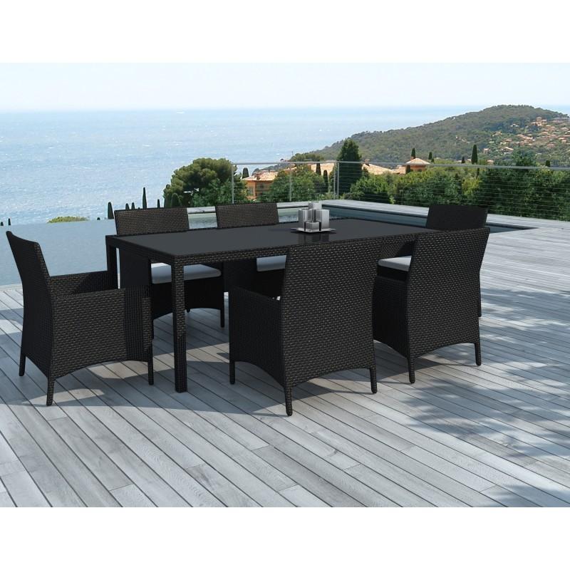 Table à manger et 6 fauteuils de jardin PALMAS en résine tressée (noir, coussins blanc/écru) - image 29894