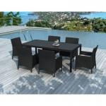 Tavolo da pranzo e 6 sedie da giardino PALMAS in resina intrecciata (neri, bianco/ecru cuscini)