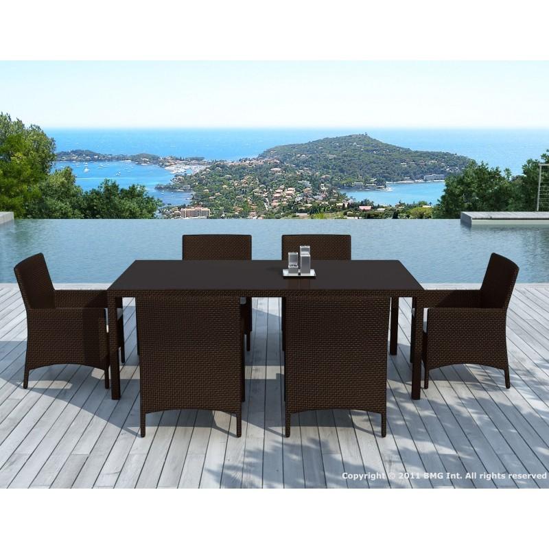 Table à manger et 6 fauteuils de jardin PALMAS en résine tressée (marron, coussins blanc/écru) - image 29897