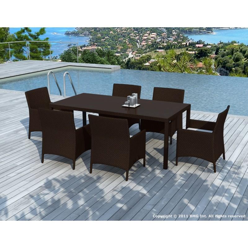 Table à manger et 6 fauteuils de jardin PALMAS en résine tressée (marron, coussins blanc/écru) - image 29899